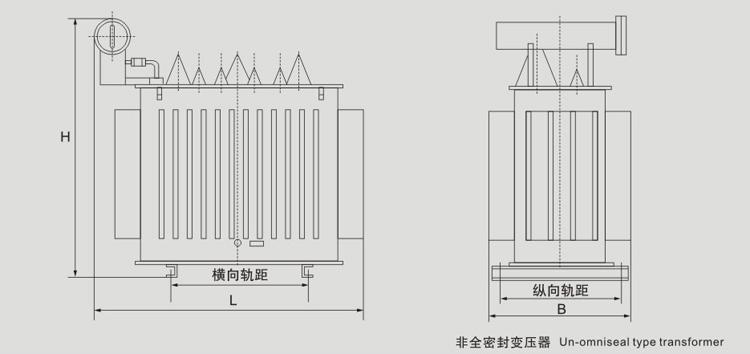 10KV级SZ11有载调压油浸式配电yabo29外型图